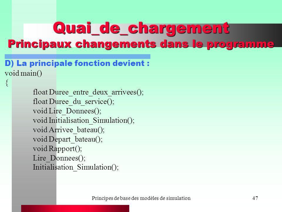 Principes de base des modèles de simulation47 Quai_de_chargement Principaux changements dans le programme D) La principale fonction devient : void mai