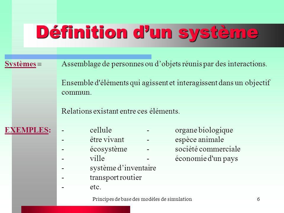 Principes de base des modèles de simulation7 Définition dun système Dans tout système, il y a cette difficulté de lisoler de son milieu, une infinité déléments qui interviennent, une infinité de caractéristiques qui interviennent, une infinité dinteractions qui interviennent, plusieurs facteurs dincertitude.