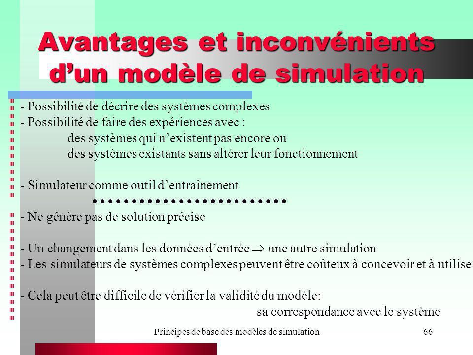 Principes de base des modèles de simulation66 Avantages et inconvénients dun modèle de simulation - Possibilité de décrire des systèmes complexes - Po