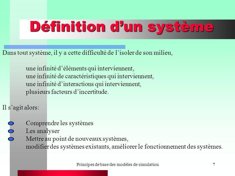 Principes de base des modèles de simulation18 Autres définitions Entités : Objets faisant partie du système, ou évoluant dans le système (quai, bateau, etc.) Attribut: Caractéristique dune entité (une place de chargement) État du système: Les valeurs dun ensemble de variables qui suffisent à décrire le système à un instant donné.