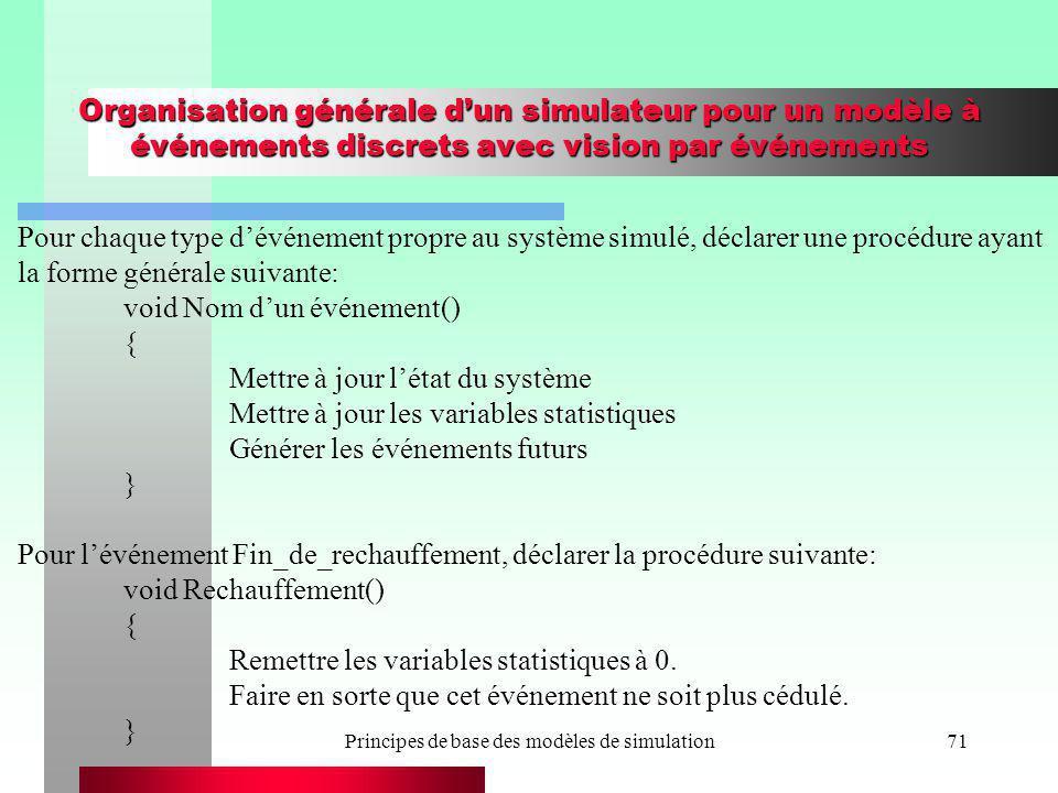Principes de base des modèles de simulation71 Organisation générale dun simulateur pour un modèle à événements discrets avec vision par événements Pou