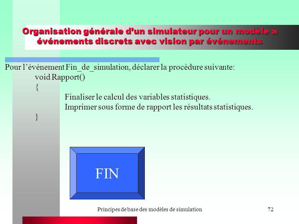 Principes de base des modèles de simulation72 Organisation générale dun simulateur pour un modèle à événements discrets avec vision par événements Pou