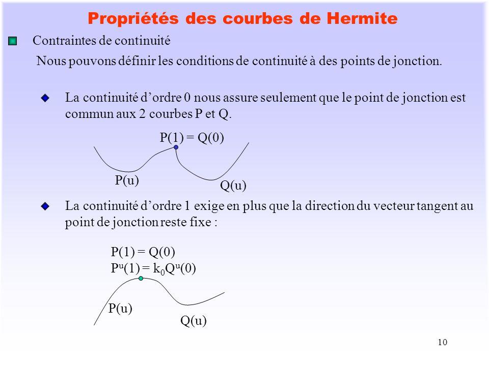 10 Propriétés des courbes de Hermite Contraintes de continuité Nous pouvons définir les conditions de continuité à des points de jonction. La continui
