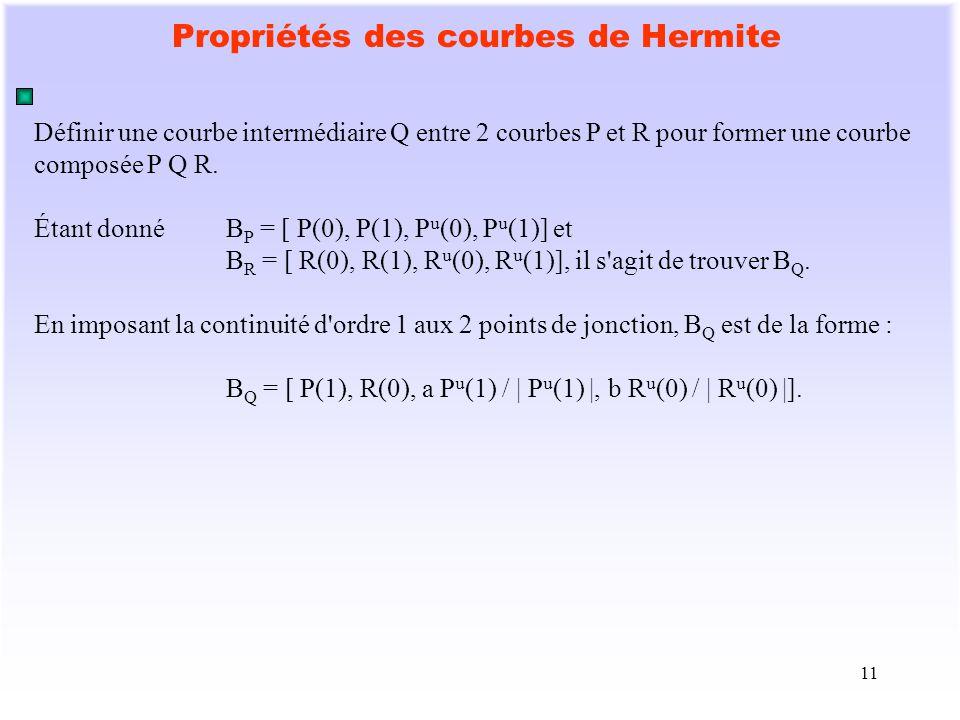 11 Propriétés des courbes de Hermite Définir une courbe intermédiaire Q entre 2 courbes P et R pour former une courbe composée P Q R. Étant donnéB P =