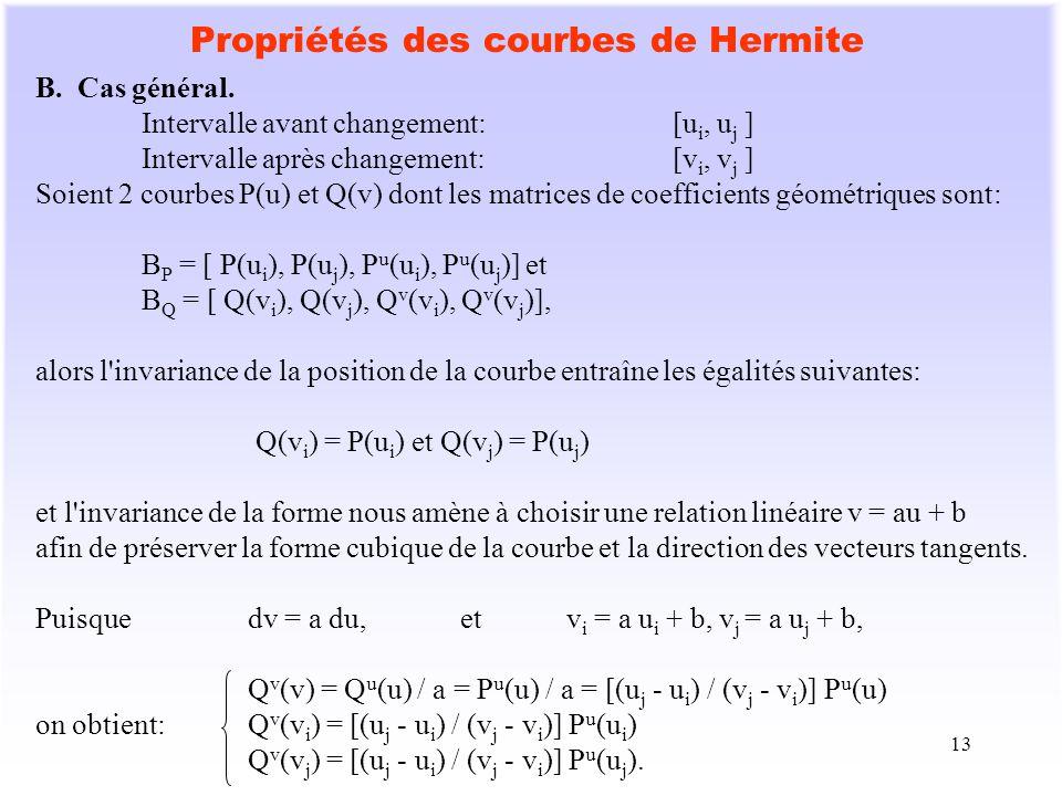 13 Propriétés des courbes de Hermite B. Cas général. Intervalle avant changement:[u i, u j ] Intervalle après changement:[v i, v j ] Soient 2 courbes