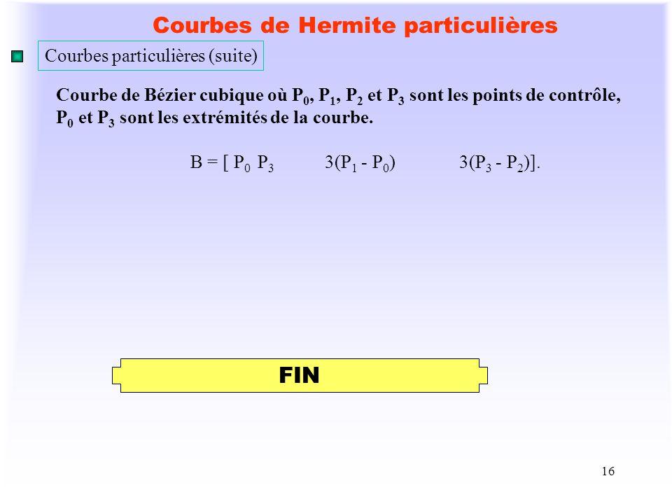 16 Courbes de Hermite particulières Courbe de Bézier cubique où P 0, P 1, P 2 et P 3 sont les points de contrôle, P 0 et P 3 sont les extrémités de la