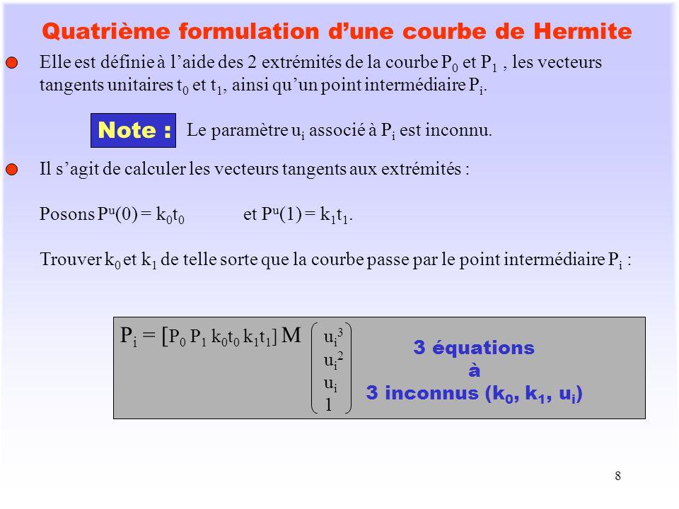 8 Quatrième formulation dune courbe de Hermite Elle est définie à laide des 2 extrémités de la courbe P 0 et P 1, les vecteurs tangents unitaires t 0