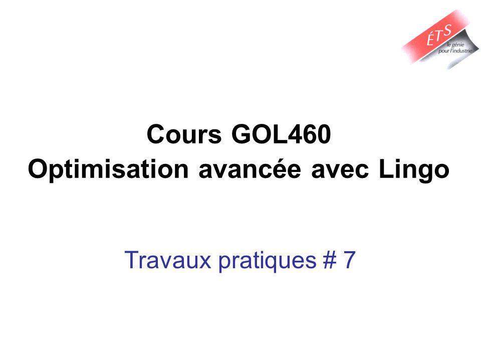 Cours GOL460 Optimisation avancée avec Lingo Travaux pratiques # 7