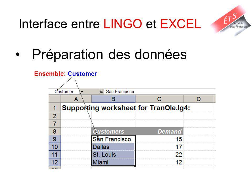 Interface entre LINGO et EXCEL Préparation des données Ensemble: Customer