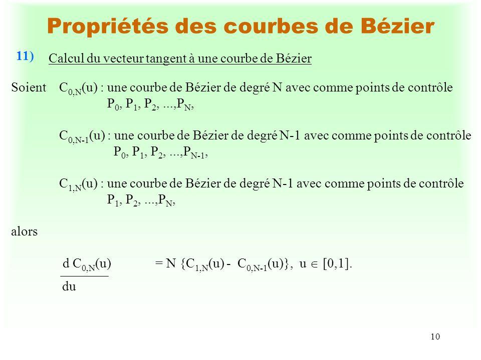10 Propriétés des courbes de Bézier Calcul du vecteur tangent à une courbe de Bézier 11) du SoientC 0,N (u) :une courbe de Bézier de degré N avec comme points de contrôle P 0, P 1, P 2,...,P N, C 0,N-1 (u) : une courbe de Bézier de degré N-1 avec comme points de contrôle P 0, P 1, P 2,...,P N-1, C 1,N (u) :une courbe de Bézier de degré N-1 avec comme points de contrôle P 1, P 2,...,P N, alors d C 0,N (u) = N {C 1,N (u) - C 0,N-1 (u)},u [0,1].