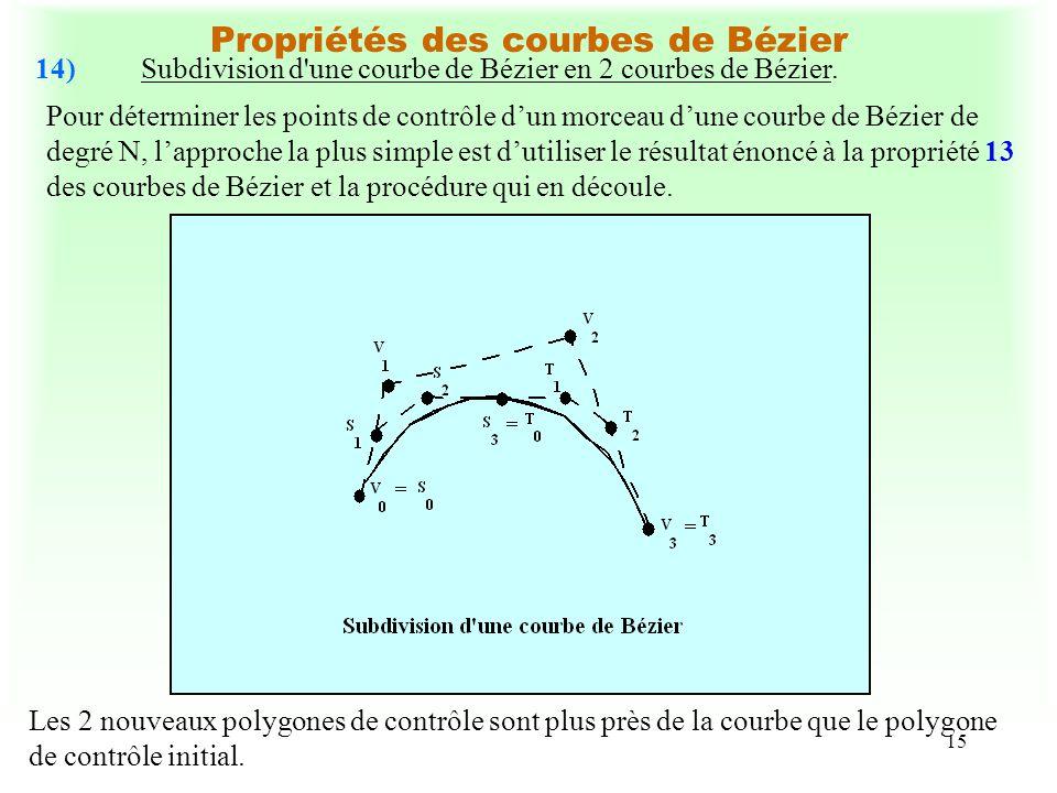 15 Propriétés des courbes de Bézier 14)Subdivision d'une courbe de Bézier en 2 courbes de Bézier. Pour déterminer les points de contrôle dun morceau d