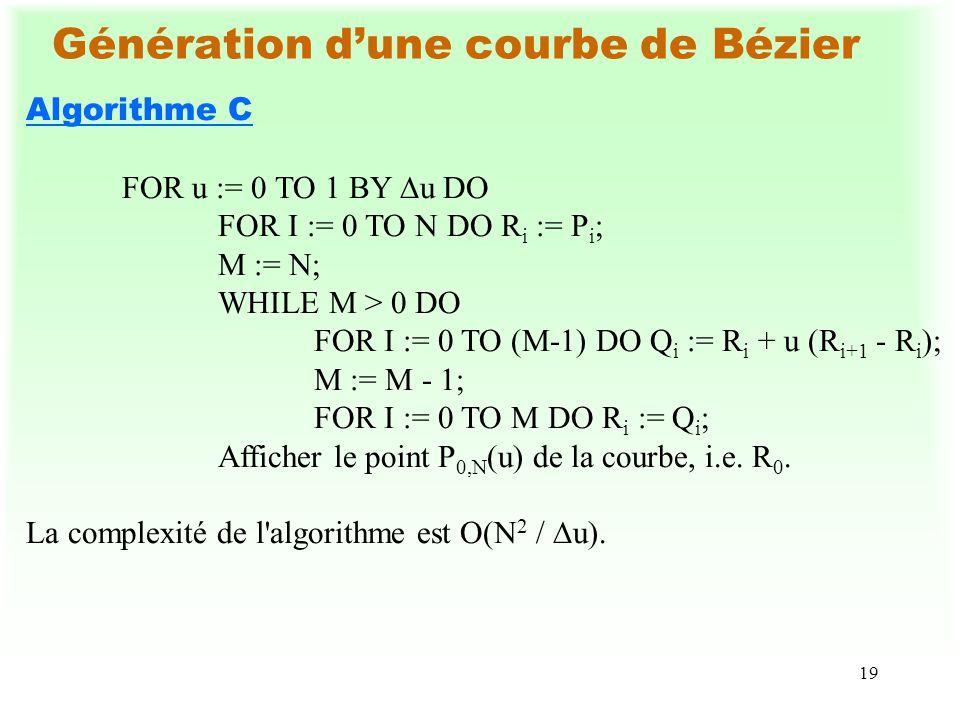 19 Génération dune courbe de Bézier Algorithme C FOR u := 0 TO 1 BY u DO FOR I := 0 TO N DO R i := P i ; M := N; WHILE M > 0 DO FOR I := 0 TO (M-1) DO Q i := R i + u (R i+1 - R i ); M := M - 1; FOR I := 0 TO M DO R i := Q i ; Afficher le point P 0,N (u) de la courbe, i.e.