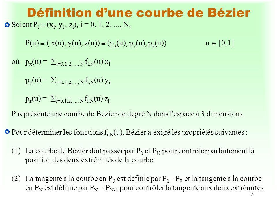 2 Définition dune courbe de Bézier Soient P i (x i, y i, z i ), i = 0, 1, 2,..., N, P(u) ( x(u), y(u), z(u)) (p x (u), p y (u), p z (u))u [0,1] oùp x (u) = i=0,1,2,..., N f i,N (u) x i p y (u) = i=0,1,2,..., N f i,N (u) y i p z (u) = i=0,1,2,..., N f i,N (u) z i P représente une courbe de Bézier de degré N dans l espace à 3 dimensions.