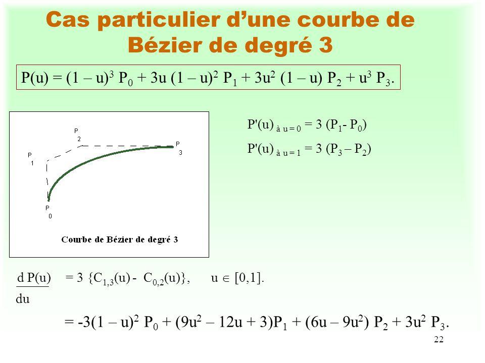 22 Cas particulier dune courbe de Bézier de degré 3 P(u) = (1 – u) 3 P 0 + 3u (1 – u) 2 P 1 + 3u 2 (1 – u) P 2 + u 3 P 3. P'(u) à u = 0 = 3 (P 1 - P 0