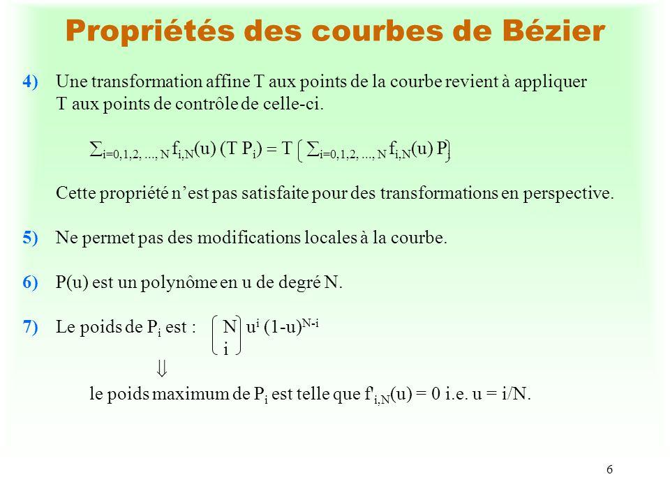 6 Propriétés des courbes de Bézier 4)Une transformation affine T aux points de la courbe revient à appliquer T aux points de contrôle de celle-ci. i=0
