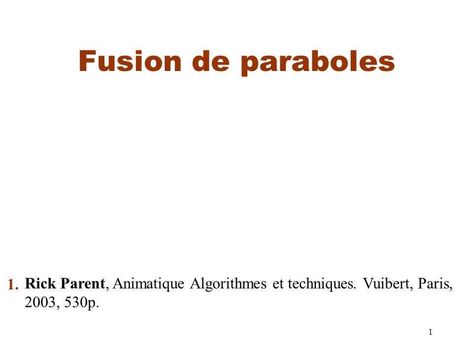 1 Fusion de paraboles Rick Parent, Animatique Algorithmes et techniques.