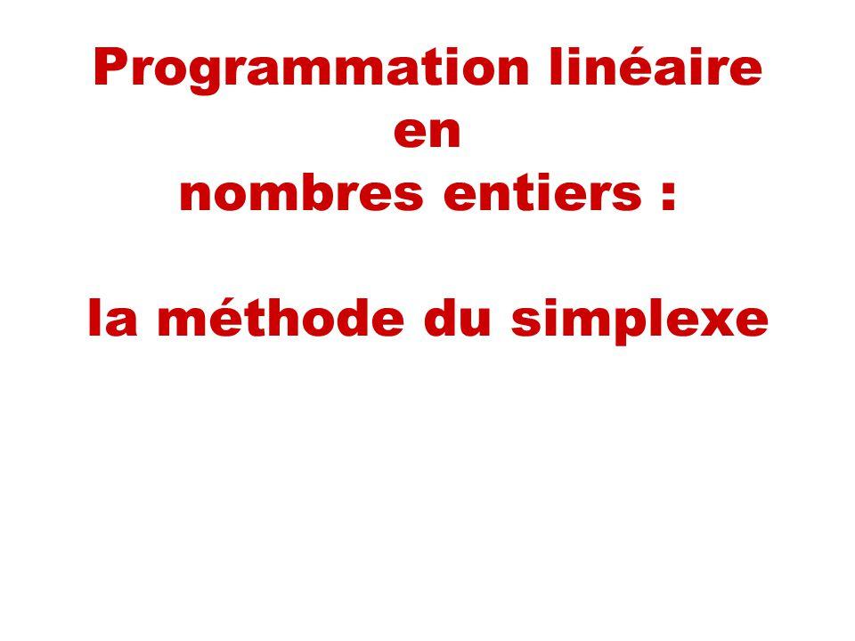 Introduction On sintéresse à un PL où les variables sont entières, A et b aussi.