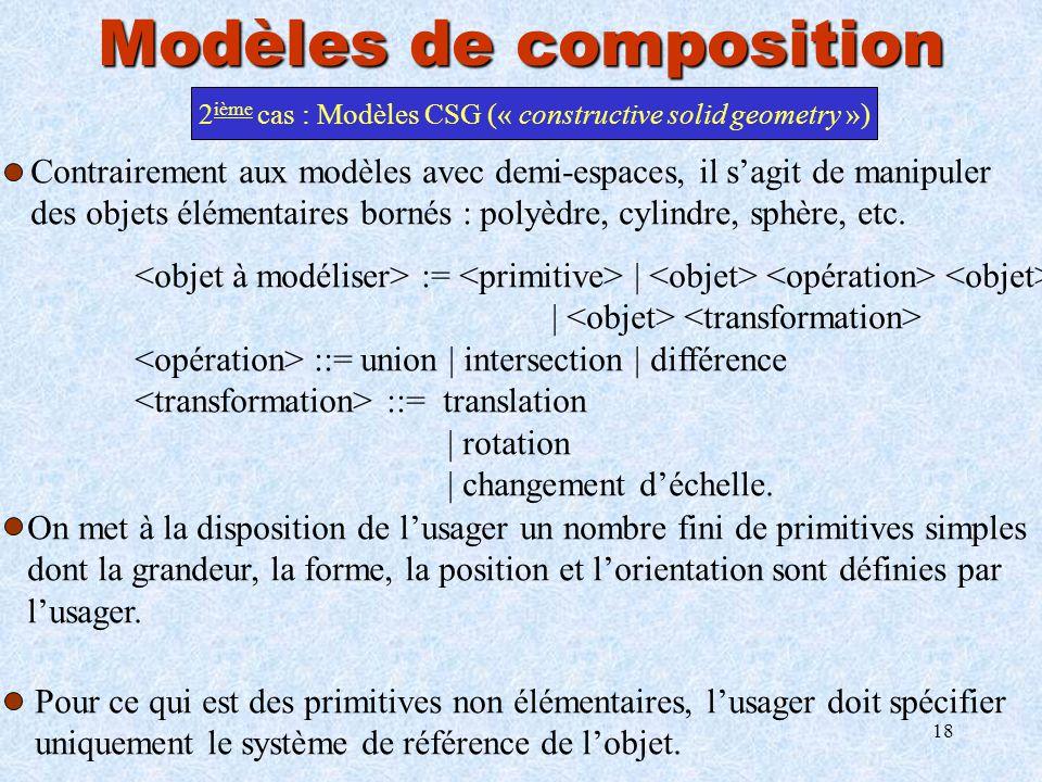 18 Modèles de composition 2 ième cas : Modèles CSG (« constructive solid geometry ») Contrairement aux modèles avec demi-espaces, il sagit de manipule