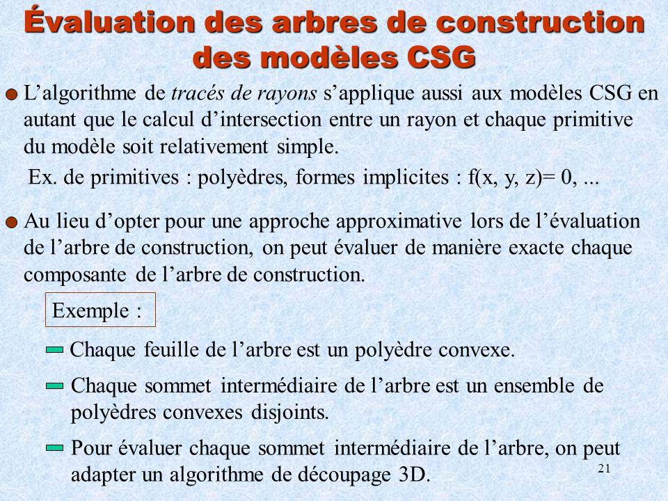 21 Évaluation des arbres de construction des modèles CSG Lalgorithme de tracés de rayons sapplique aussi aux modèles CSG en autant que le calcul dinte