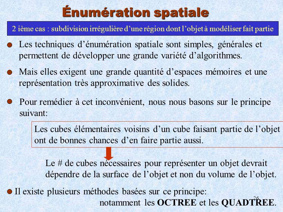 26 Énumération spatiale 2 ième cas : subdivision irrégulière dune région dont lobjet à modéliser fait partie Pour remédier à cet inconvénient, nous no