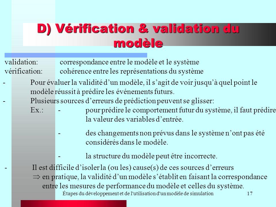 Étapes du développement et de l utilisation d un modèle de simulation17 D) Vérification & validation du modèle en pratique, la validité dun modèle sétablit en faisant la correspondance entre les mesures de performance du modèle et celles du système.