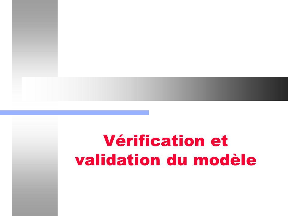 Vérification et validation du modèle22 Validation et vérification du modèle logique Vérification des formules et relations mathématiques: - Un cas simple est la vérification des lois de conservation.