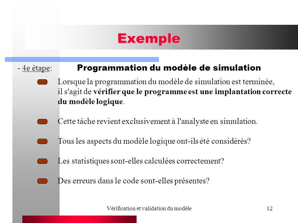 Vérification et validation du modèle12 Exemple - 4e étape: Programmation du modèle de simulation Lorsque la programmation du modèle de simulation est terminée, il s agit de vérifier que le programme est une implantation correcte du modèle logique.