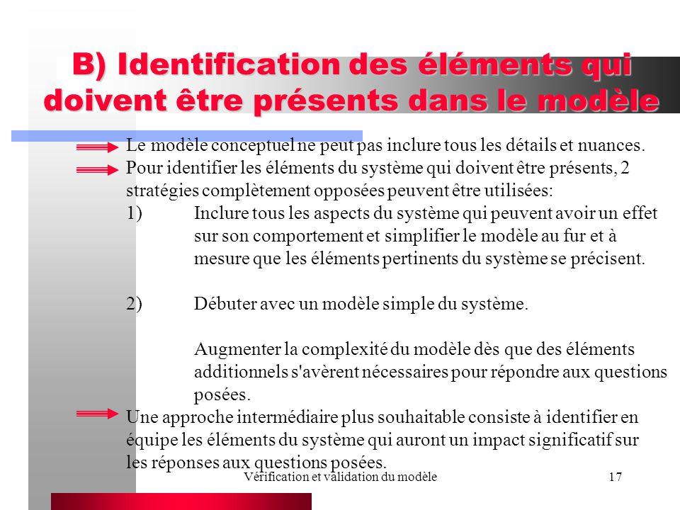 Vérification et validation du modèle17 B) Identification des éléments qui doivent être présents dans le modèle Le modèle conceptuel ne peut pas inclur