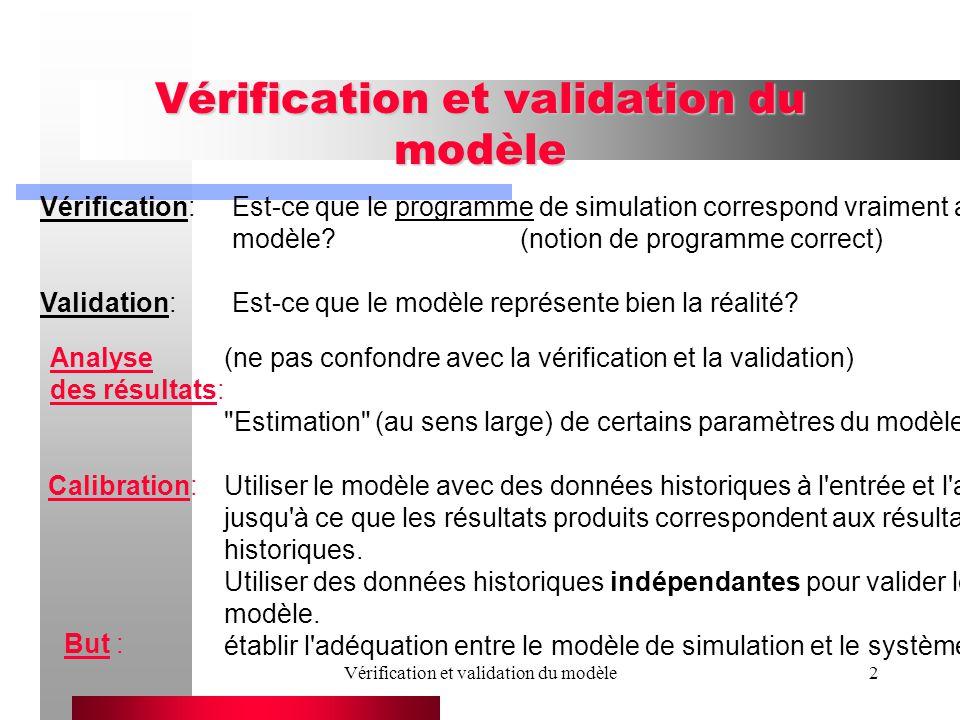 2 Vérification:Est-ce que le programme de simulation correspond vraiment au modèle (notion de programme correct) Validation:Est-ce que le modèle représente bien la réalité.