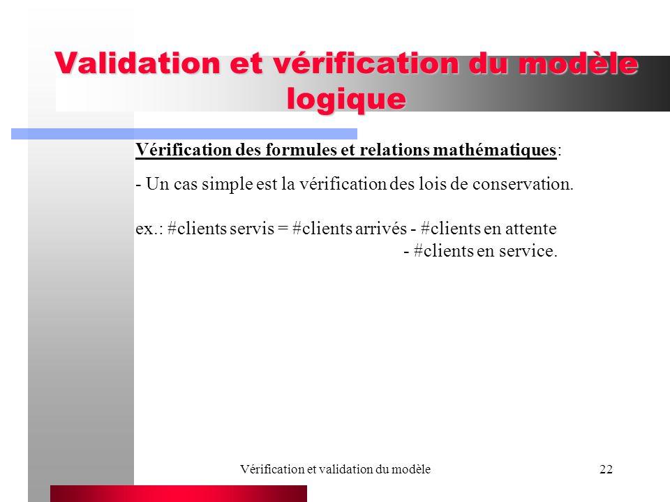Vérification et validation du modèle22 Validation et vérification du modèle logique Vérification des formules et relations mathématiques: - Un cas sim