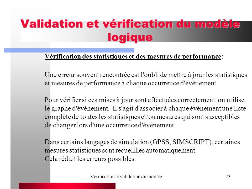 Vérification et validation du modèle23 Validation et vérification du modèle logique Vérification des statistiques et des mesures de performance: Une e