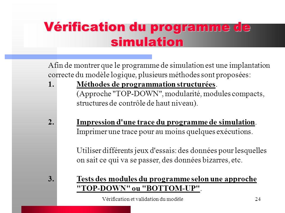 Vérification et validation du modèle24 Vérification du programme de simulation Afin de montrer que le programme de simulation est une implantation cor