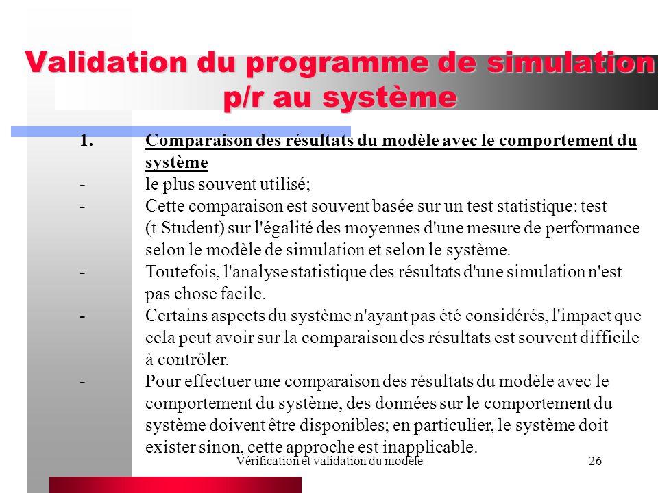 Vérification et validation du modèle26 Validation du programme de simulation p/r au système 1.Comparaison des résultats du modèle avec le comportement du système -le plus souvent utilisé; -Cette comparaison est souvent basée sur un test statistique: test (t Student) sur l égalité des moyennes d une mesure de performance selon le modèle de simulation et selon le système.