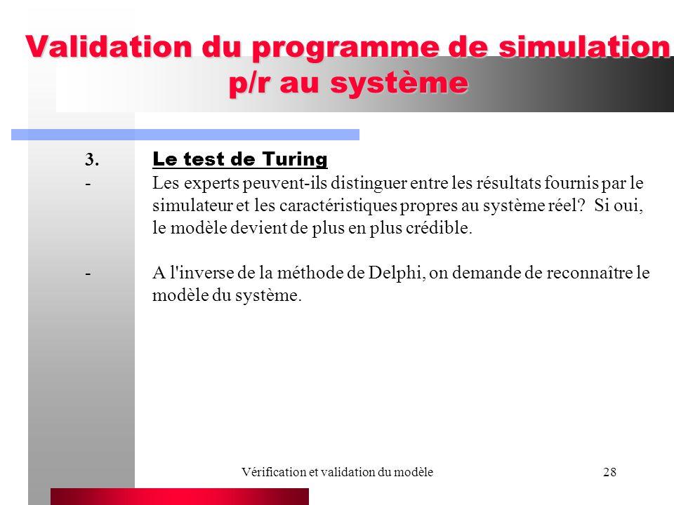 Vérification et validation du modèle28 Validation du programme de simulation p/r au système 3. Le test de Turing -Les experts peuvent-ils distinguer e