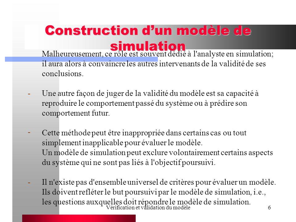 Vérification et validation du modèle17 B) Identification des éléments qui doivent être présents dans le modèle Le modèle conceptuel ne peut pas inclure tous les détails et nuances.
