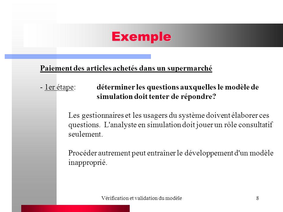 Vérification et validation du modèle8 Exemple Paiement des articles achetés dans un supermarché - 1er étape:déterminer les questions auxquelles le modèle de simulation doit tenter de répondre.