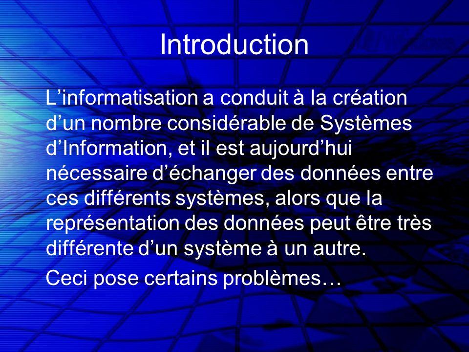 Introduction Linformatisation a conduit à la création dun nombre considérable de Systèmes dInformation, et il est aujourdhui nécessaire déchanger des données entre ces différents systèmes, alors que la représentation des données peut être très différente dun système à un autre.