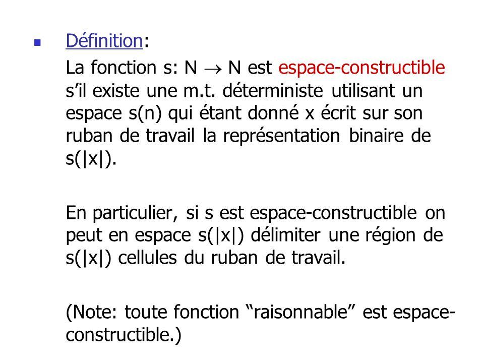 Définition: La fonction s: N N est espace-constructible sil existe une m.t.