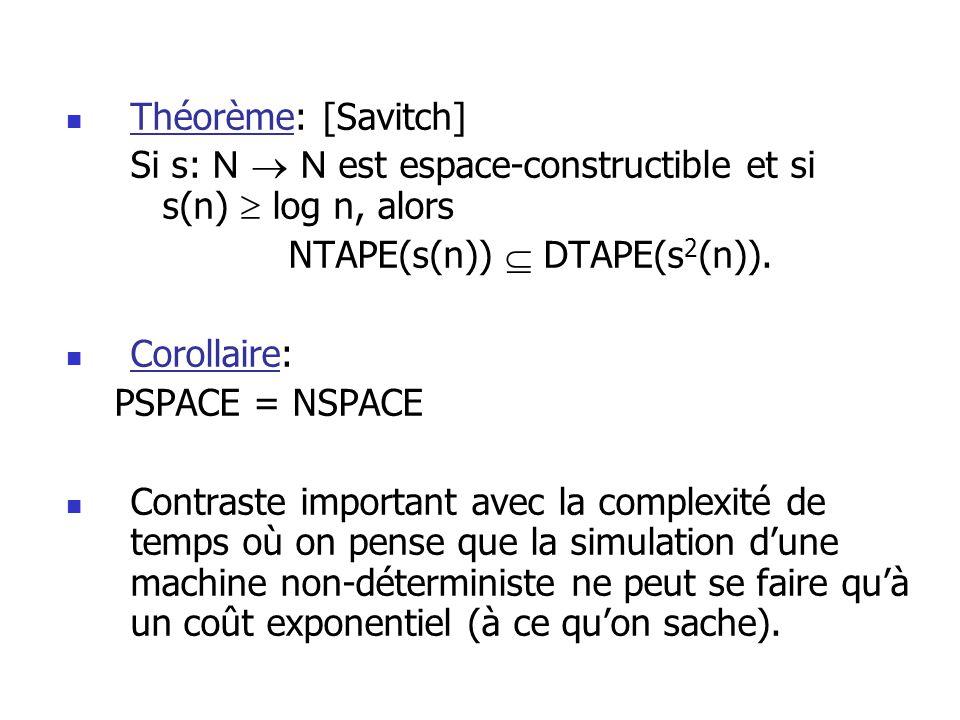 Théorème: [Savitch] Si s: N N est espace-constructible et si s(n) log n, alors NTAPE(s(n)) DTAPE(s 2 (n)).