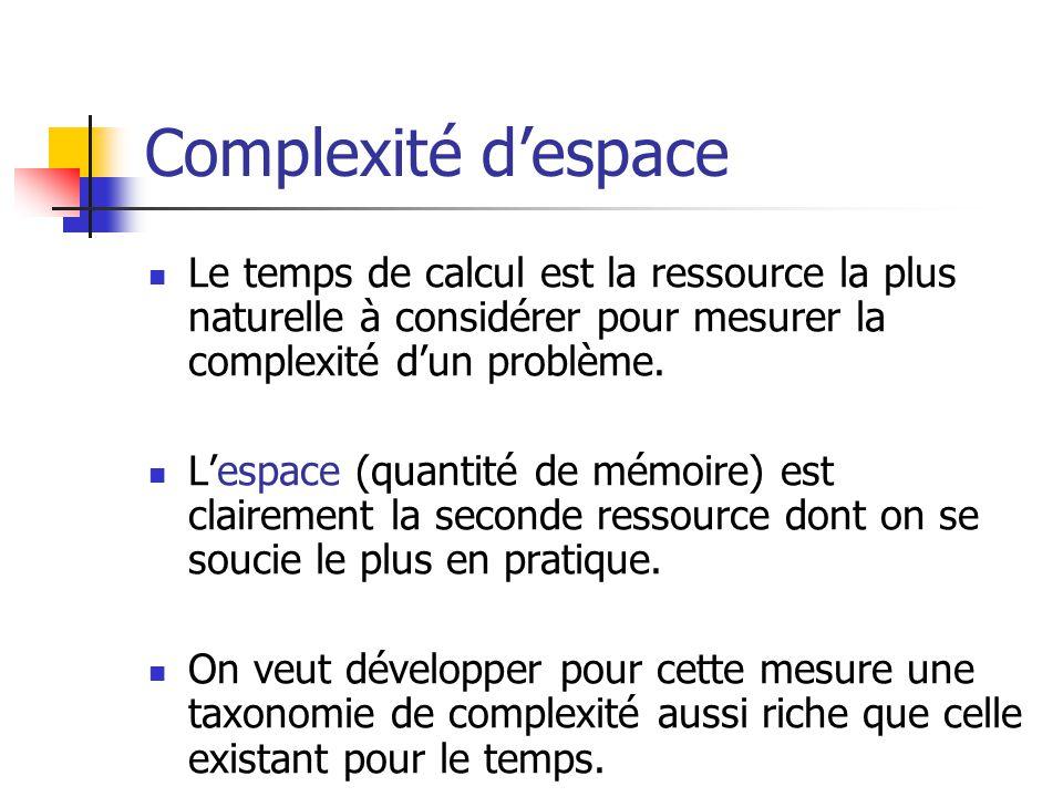Complexité despace Le temps de calcul est la ressource la plus naturelle à considérer pour mesurer la complexité dun problème.