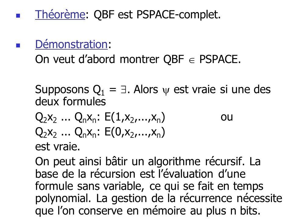 Théorème: QBF est PSPACE-complet.Démonstration: On veut dabord montrer QBF PSPACE.