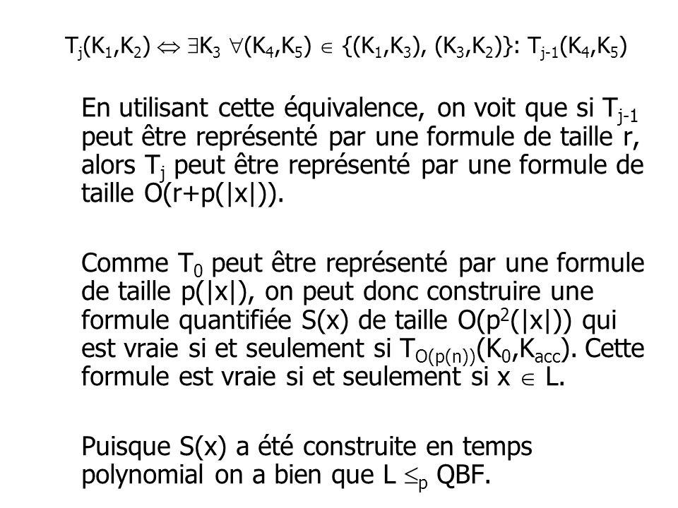 En utilisant cette équivalence, on voit que si T j-1 peut être représenté par une formule de taille r, alors T j peut être représenté par une formule de taille O(r+p(|x|)).