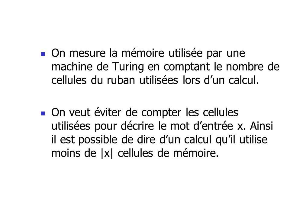 On mesure la mémoire utilisée par une machine de Turing en comptant le nombre de cellules du ruban utilisées lors dun calcul.