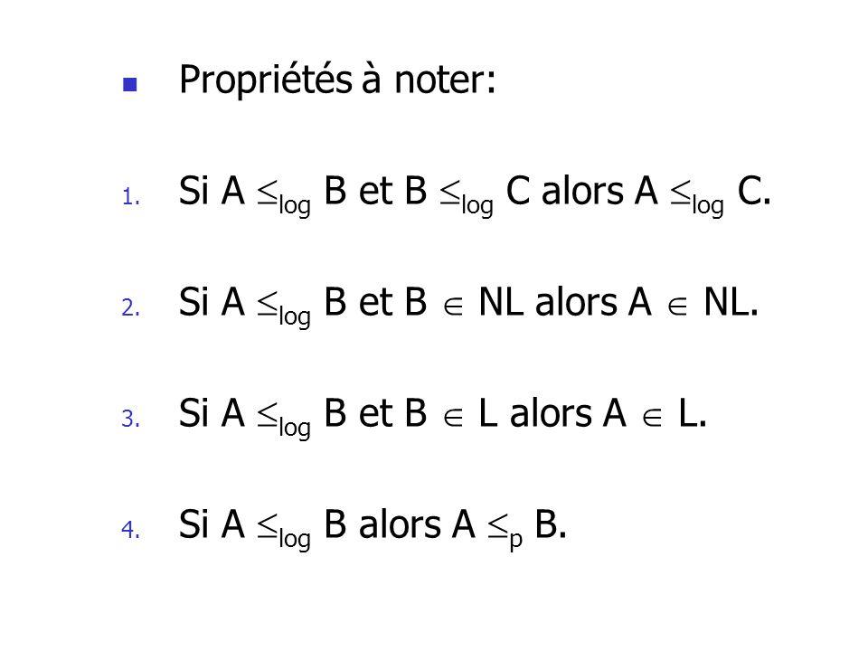 Propriétés à noter: 1.Si A log B et B log C alors A log C.