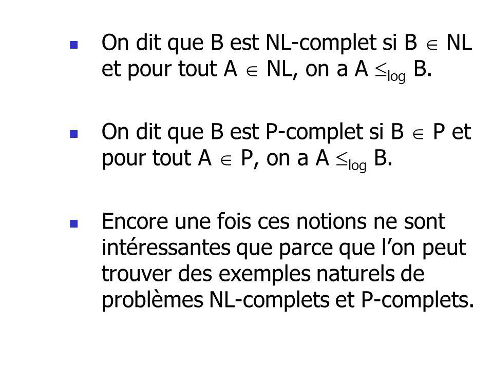 On dit que B est NL-complet si B NL et pour tout A NL, on a A log B.