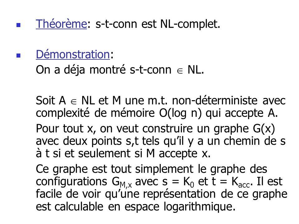 Théorème: s-t-conn est NL-complet.Démonstration: On a déja montré s-t-conn NL.