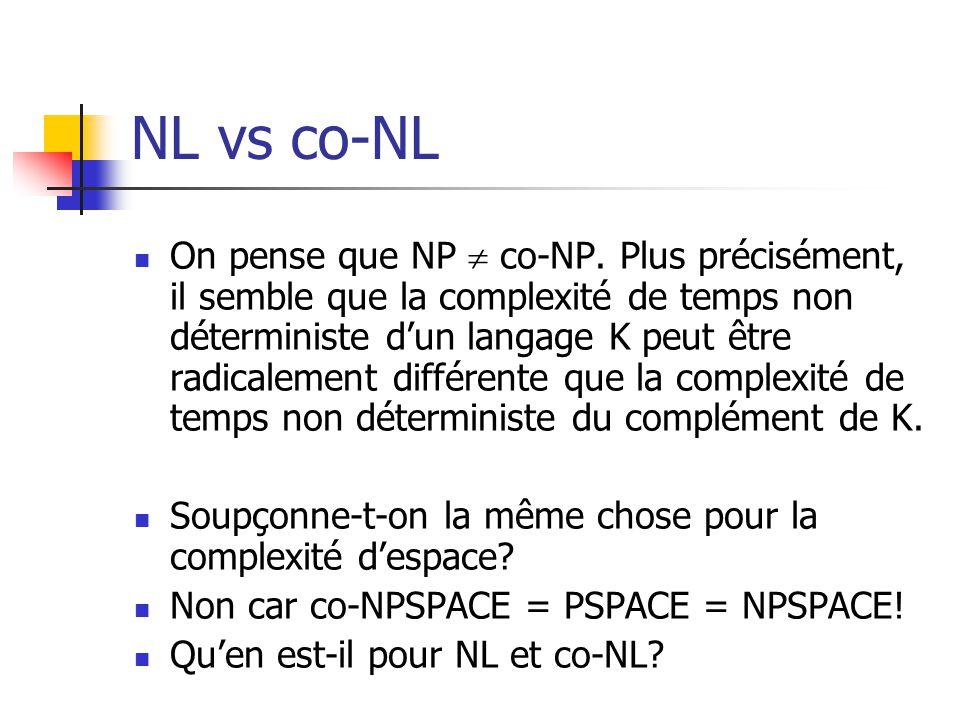 NL vs co-NL On pense que NP co-NP.