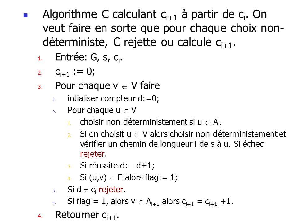 Algorithme C calculant c i+1 à partir de c i.