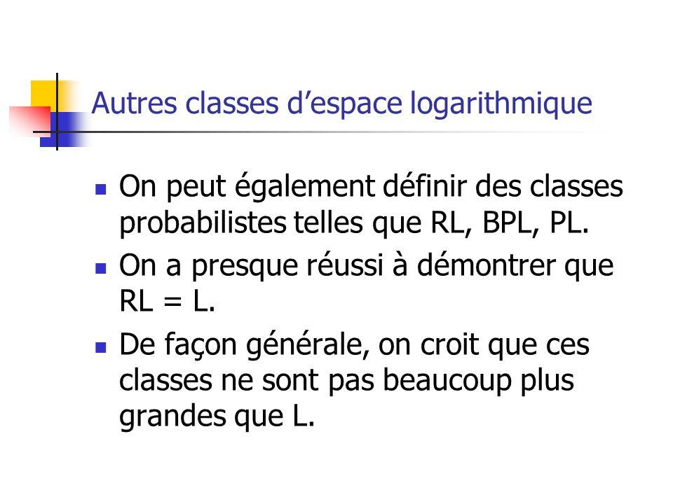 Autres classes despace logarithmique On peut également définir des classes probabilistes telles que RL, BPL, PL.