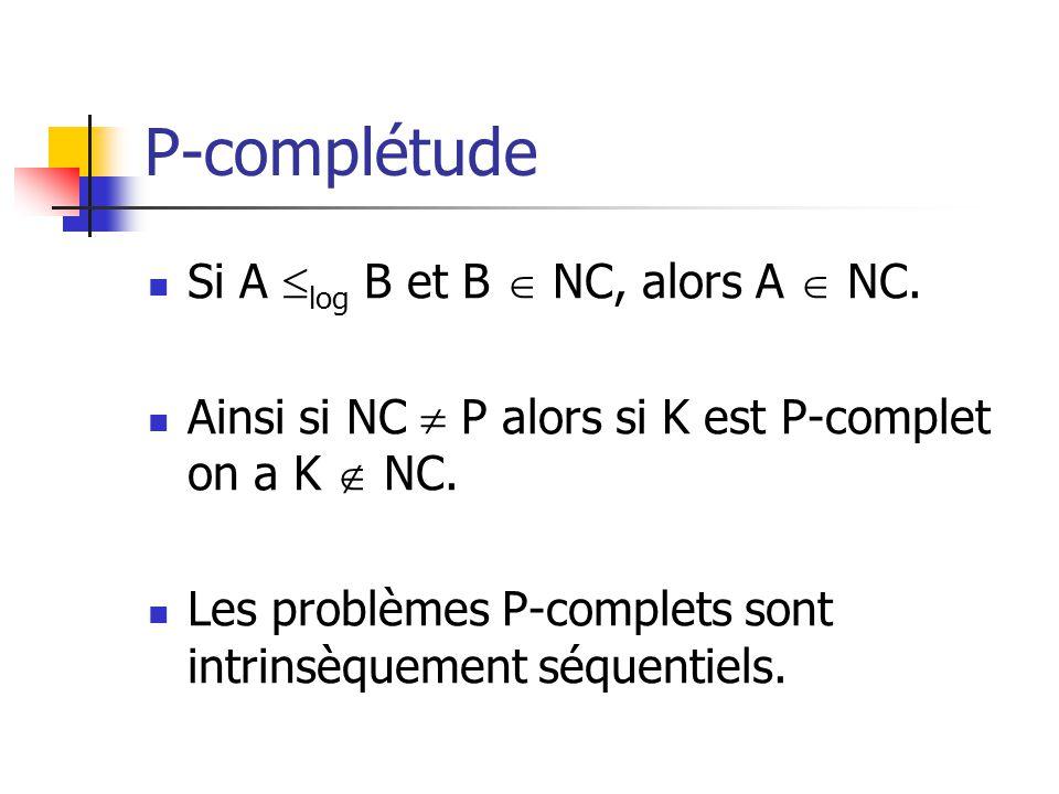 P-complétude Si A log B et B NC, alors A NC.Ainsi si NC P alors si K est P-complet on a K NC.